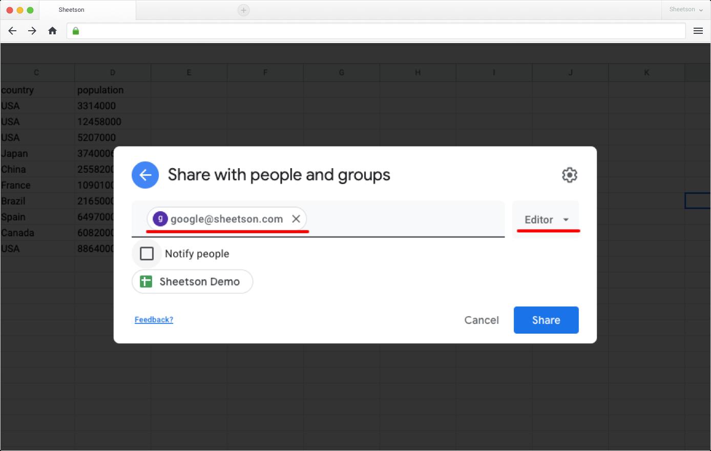 Simple Google Sheets setup
